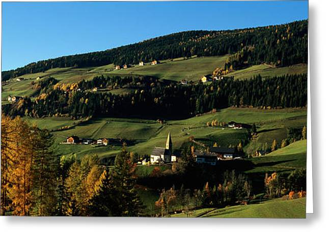 Fall Grass Greeting Cards - Buildings On A Landscape, Dolomites Greeting Card by Panoramic Images