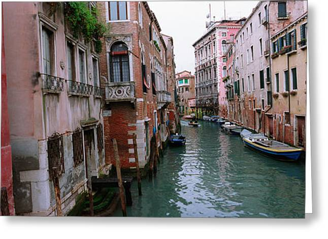 Photography Of Windows Greeting Cards - Buildings On Both Sides Of A Canal Greeting Card by Panoramic Images