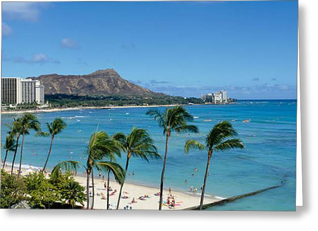 Beach Photography Greeting Cards - Buildings On The Beach, Waikiki Beach Greeting Card by Panoramic Images