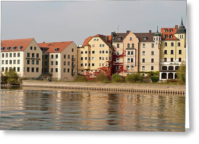 Buildings On The Danube River Greeting Card by Michael Defreitas