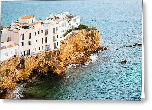 Ibiza Greeting Cards - Buildings on the hill by the sea Ibiza Spain Greeting Card by Michal Bednarek