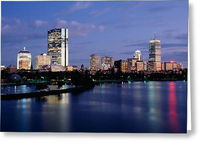 Electric Building Greeting Cards - Buildings On The Waterfront At Dusk Greeting Card by Panoramic Images