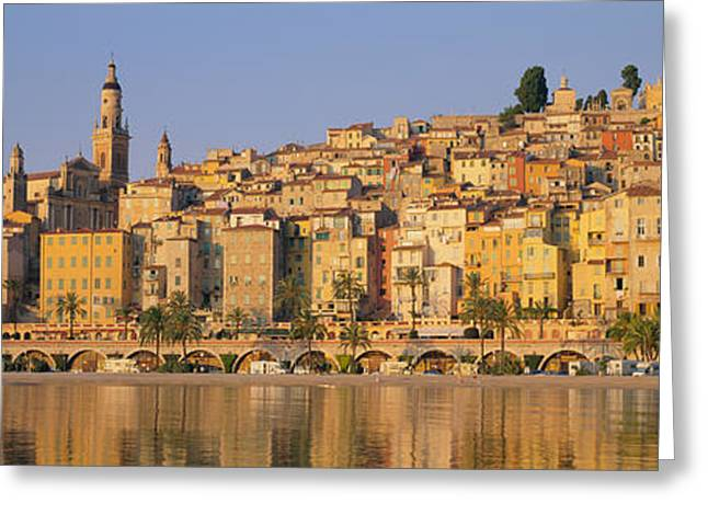 Buildings On The Waterfront, Eglise Greeting Card by Panoramic Images