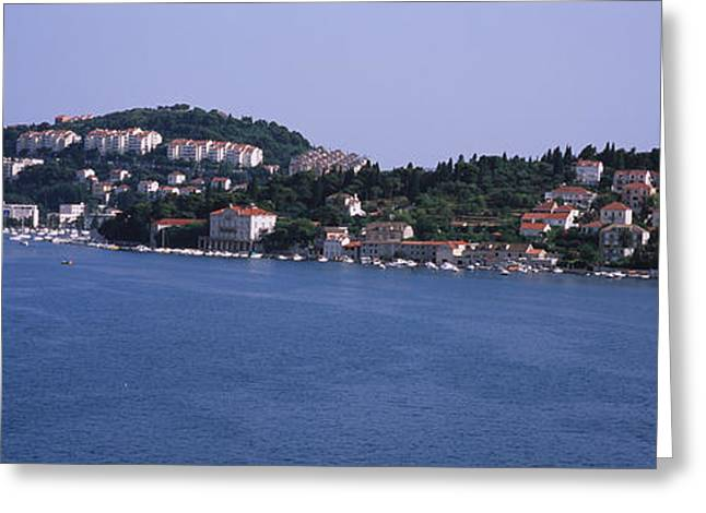 Dubrovnik Greeting Cards - Buildings On The Waterfront, Lapad Greeting Card by Panoramic Images