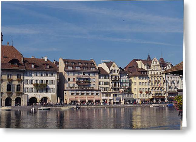 Lucerne Greeting Cards - Buildings On The Waterfront, Lucerne Greeting Card by Panoramic Images