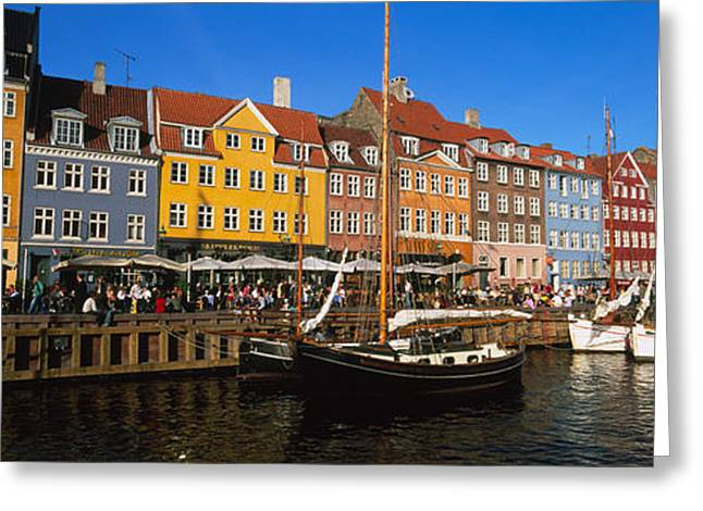 Boats In Water Greeting Cards - Buildings On The Waterfront, Nyhavn Greeting Card by Panoramic Images