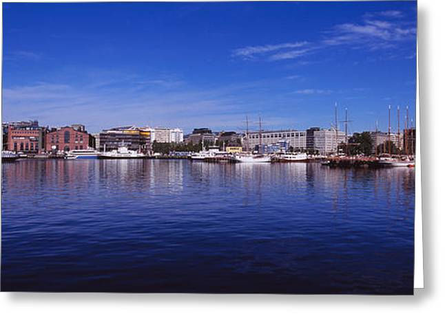 Norway Harbor Greeting Cards - Buildings On The Waterfront, Oslo Greeting Card by Panoramic Images