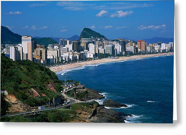 Ipanema Beach Greeting Cards - Buildings On The Waterfront, Rio De Greeting Card by Panoramic Images