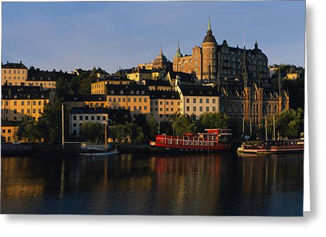Residential Structure Greeting Cards - Buildings On The Waterfront, Stockholm Greeting Card by Panoramic Images