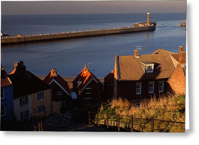 Whitby Greeting Cards - Buildings On The Waterfront, Whitby Greeting Card by Panoramic Images