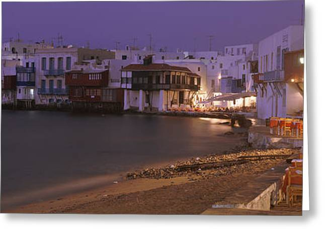 Evening Lights Greeting Cards - Buildings On Water, Little Venice Greeting Card by Panoramic Images
