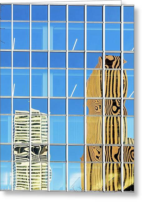 Buildings Reflected In Glass Greeting Card by Wladimir Bulgar