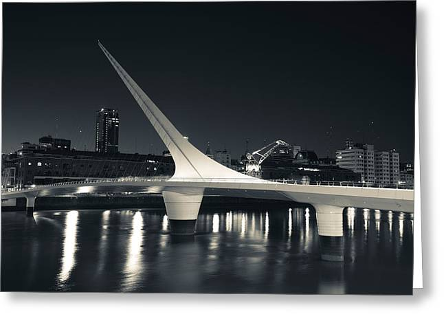 Mujer Greeting Cards - Buildings With A Footbridge Greeting Card by Panoramic Images