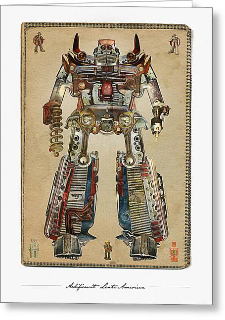 Car Part Mixed Media Greeting Cards - Built American Tough Robot No.2 Greeting Card by Jeff Steed