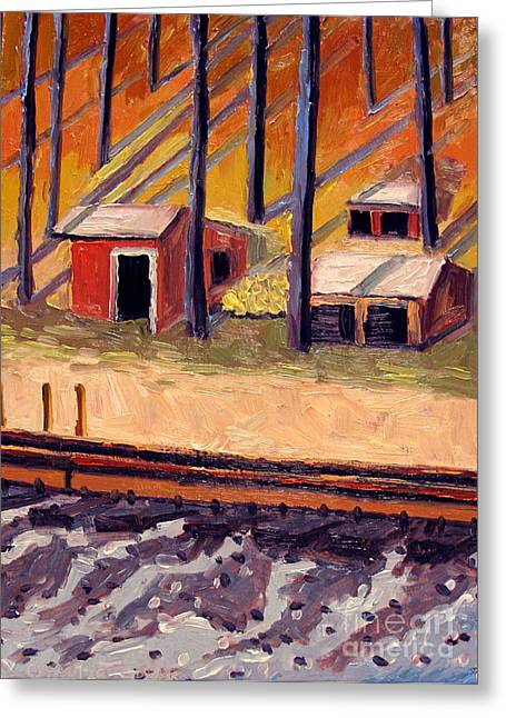 Shed Paintings Greeting Cards - BUILT of IRON and WOOD Greeting Card by Charlie Spear