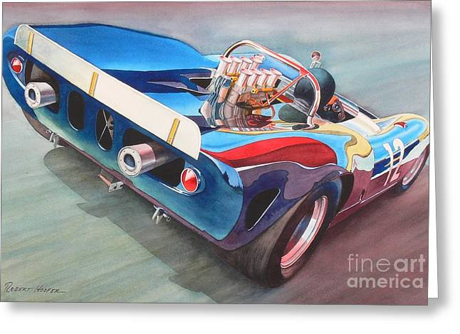 Watercolor Sports Art Paintings Greeting Cards - Built To Race Greeting Card by Robert Hooper