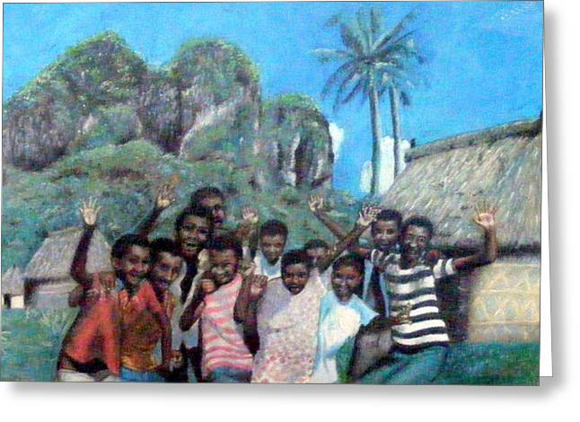 Thatch Jewelry Greeting Cards - Bula  Fiji welcome Greeting Card by Barbara Jacquin