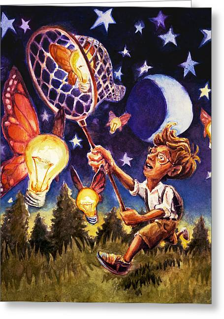 Childrens Book Illustrator Greeting Cards - Bulbflies Greeting Card by David Condry
