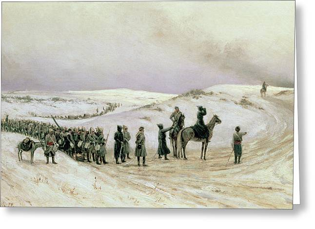 Troops Photographs Greeting Cards - Bulgaria, A Scene From The Russo-turkish War Of 1877-78, 1879 Oil On Canvas Greeting Card by Mikhail Georgievich Malyshev