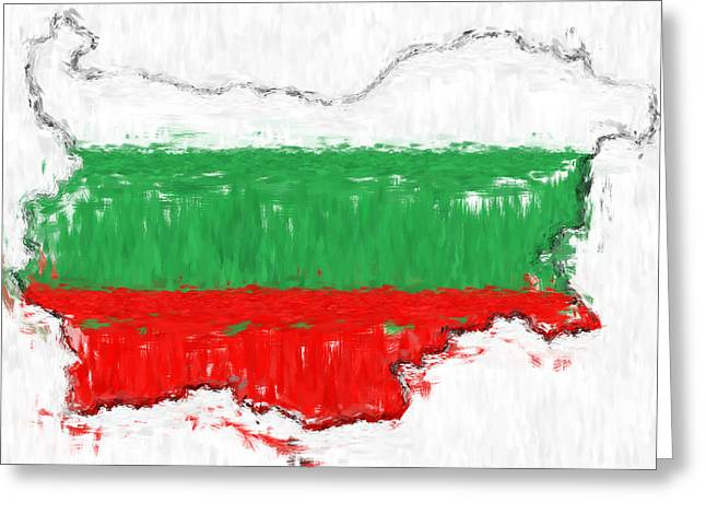 Bulgaria Painted Flag Map Greeting Card by Antony McAulay