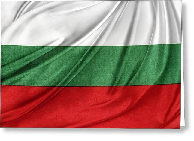 White Cloth Greeting Cards - Bulgarian flag Greeting Card by Les Cunliffe