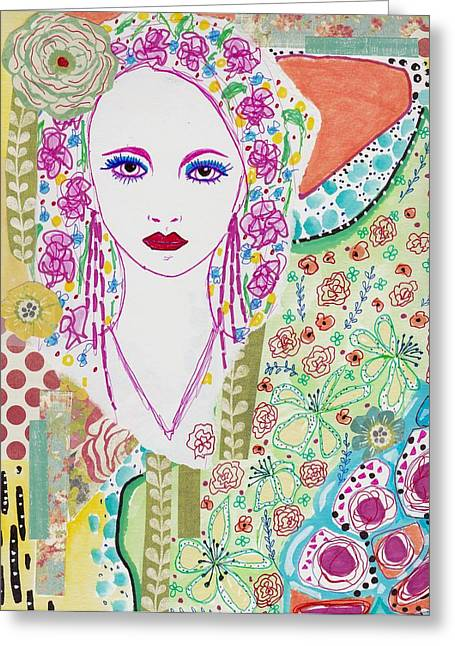 Watercolor With Pen Mixed Media Greeting Cards - Bulgarian Folk Girl Greeting Card by Rosalina Bojadschijew