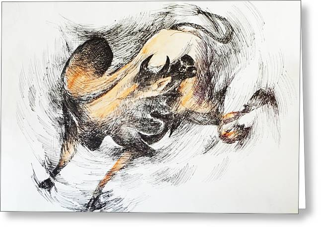 Frame Greeting Cards - Bull-2 Greeting Card by Bhanu Dudhat