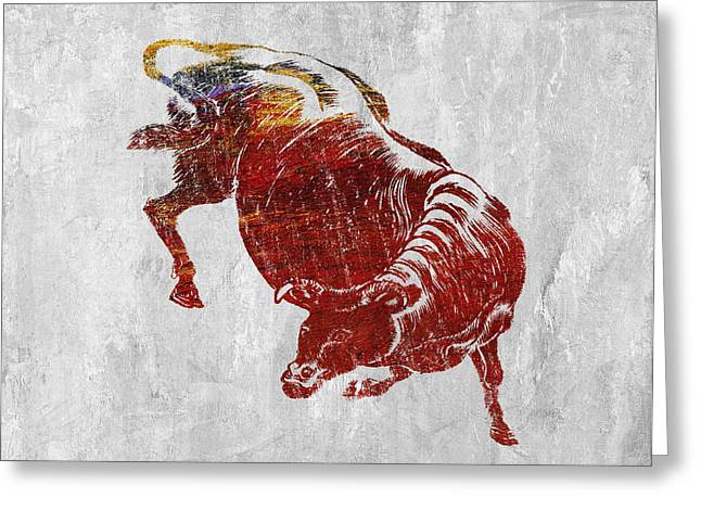 Art Decor Greeting Cards - Bull Greeting Card by Aged Pixel