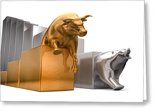 Invest Greeting Cards - Bull And Bear Economic Trends Greeting Card by Allan Swart