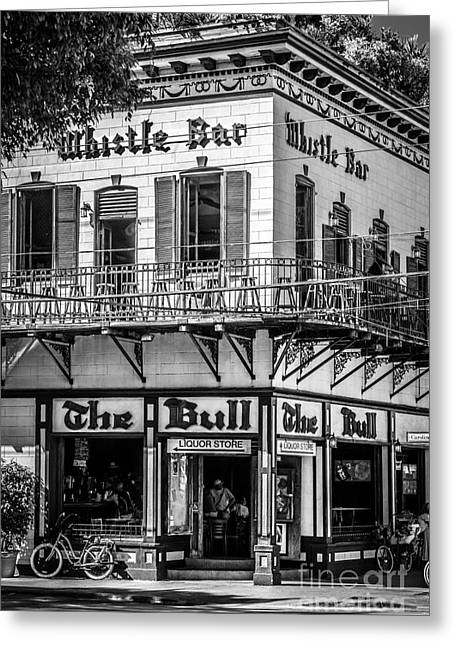 Open Air Greeting Cards - Bull and Whistle Key West - Black and White Greeting Card by Ian Monk