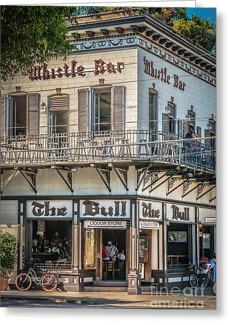 Multi-color Greeting Cards - Bull and Whistle Key West - HDR Style Greeting Card by Ian Monk