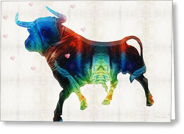 Bull Art - Love A Bull 2 - By Sharon Cummings Greeting Card by Sharon Cummings