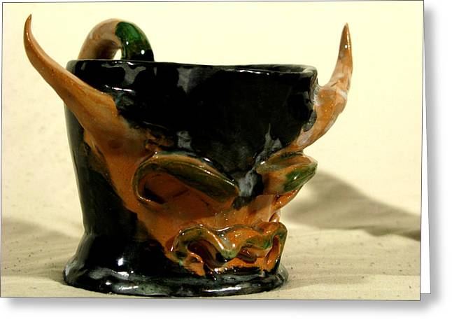 Bulls Ceramics Greeting Cards - Bull Cup Greeting Card by Troy Howard