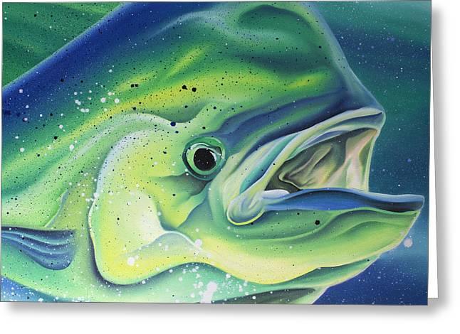 Bull Dolphin Greeting Cards - East Coast Mahi Greeting Card by William Love