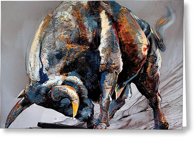 Bull Fight Greeting Card by Dragan Petrovic Pavle