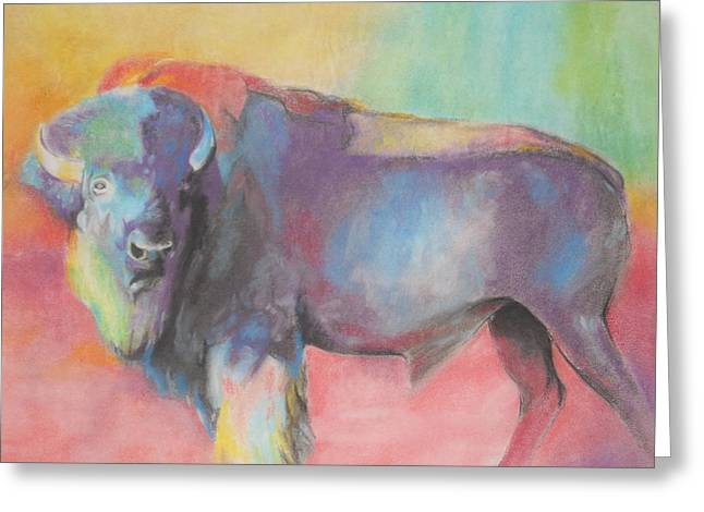 Bulls Pastels Greeting Cards - Bull Greeting Card by Grady Simmons