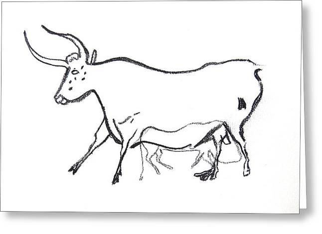Sacred Bull Greeting Cards - Bull Line Drawing Greeting Card by Melinda Saminski