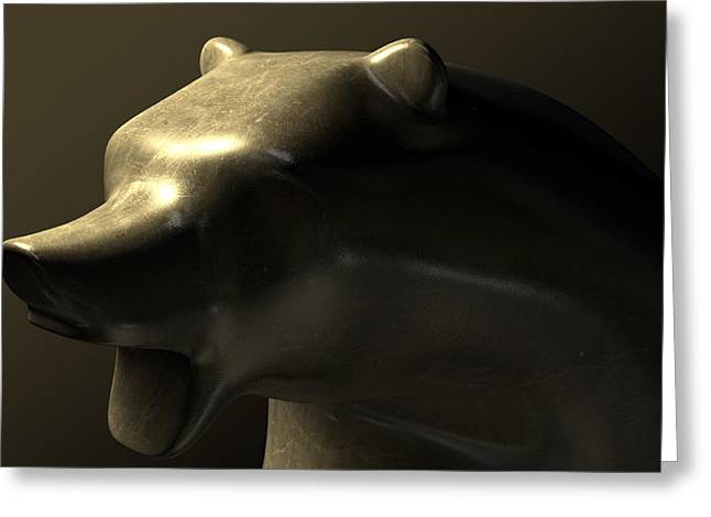 Commerce Greeting Cards - Bull Market Bronze Casting Contrast Greeting Card by Allan Swart