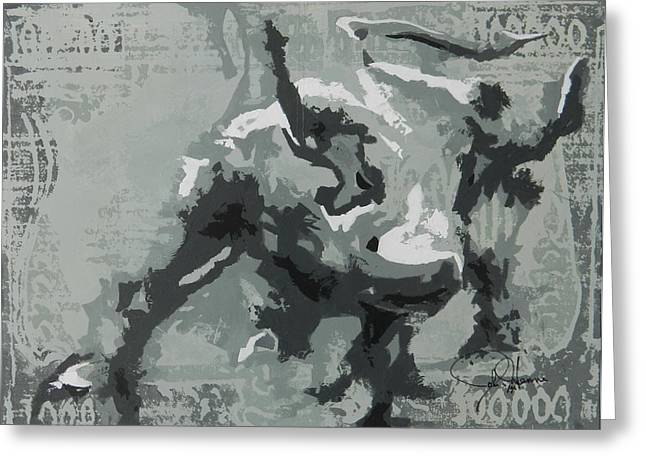 Wall Street Paintings Greeting Cards - Bull Market G Greeting Card by John Henne