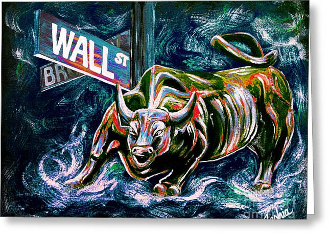 Stockbroker Greeting Cards - Bull Market Night Greeting Card by Teshia Art