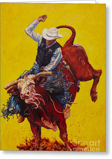 Bull Riding Greeting Cards - Bull Market Greeting Card by Patricia A Griffin