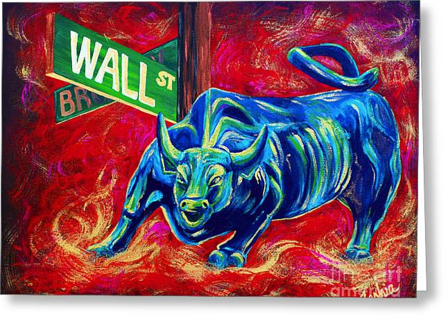 City Scenes Paintings Greeting Cards - Bull Market Greeting Card by Teshia Art