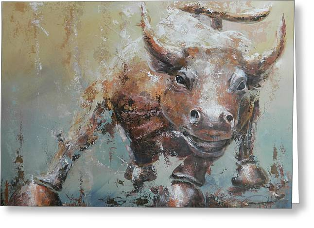 Bulls Greeting Cards - Bull Market Y Greeting Card by John Henne