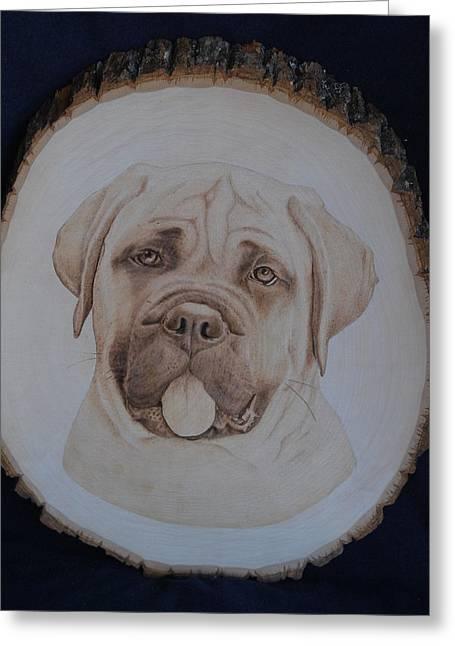 Dogs Pyrography Greeting Cards - Bull Mastiff Greeting Card by Oksana Rahbari