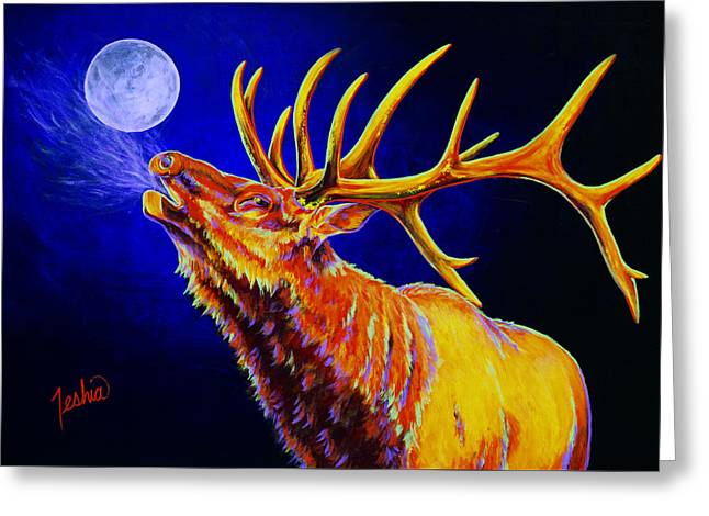 Elk Wildlife Greeting Cards - Bull Moon Greeting Card by Teshia Art