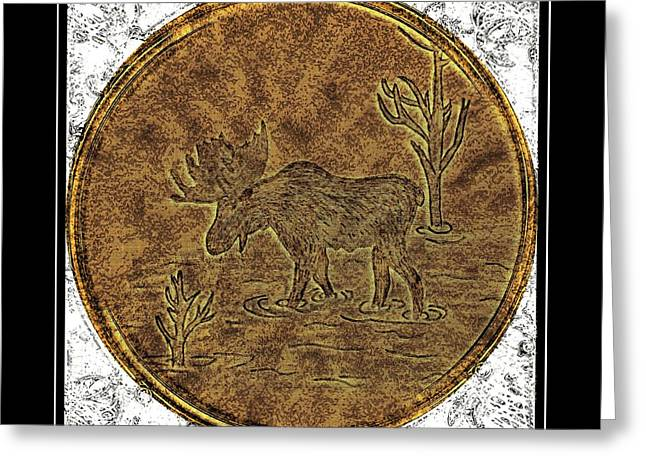Brass Etching Greeting Cards - Bull Moose - Brass Etching Greeting Card by Barbara Griffin