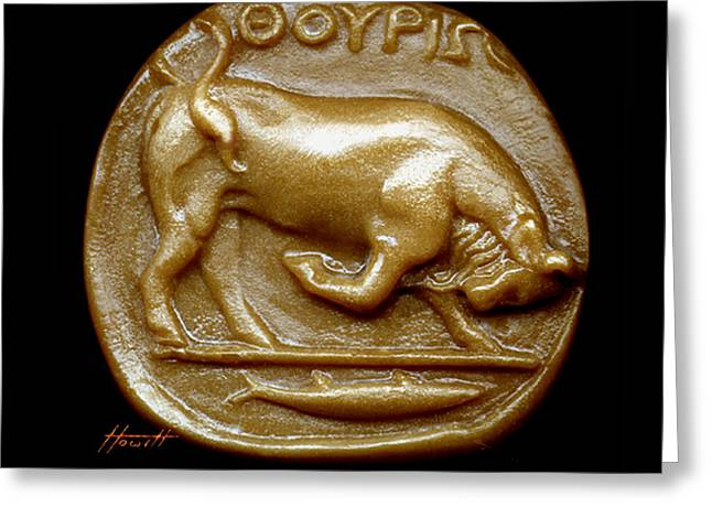 Engraving Sculptures Greeting Cards - Bull Greeting Card by Patricia Howitt