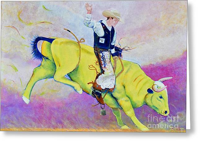 Bull Riding Greeting Cards - Bull Rider Wren Greeting Card by Christine Belt