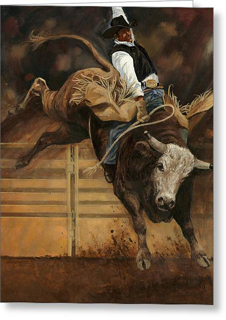 Steer Greeting Cards - Bull Riding 1 Greeting Card by Don  Langeneckert