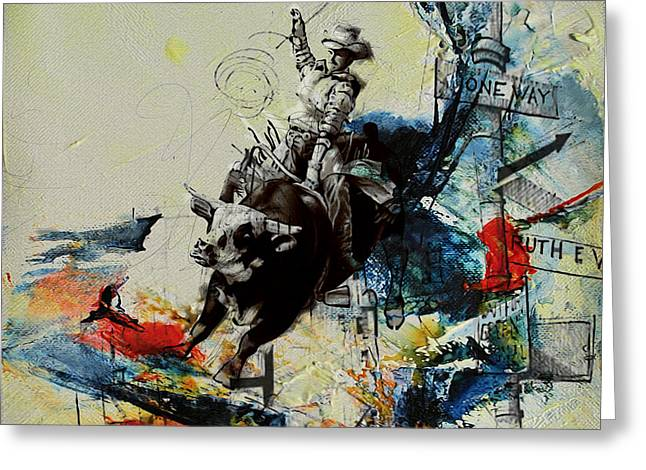 Dallas Paintings Greeting Cards - Bull Rodeo 02 Greeting Card by Corporate Art Task Force